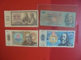TCHECOSLOVAQUIE LOT DE 4 BILLETS (B.7) - Coins & Banknotes