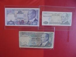 TURQUIE LOT DE 3 BILLETS (B.7) - Monnaies & Billets