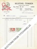 Facture 1930 LIEGE - HUSTINX - TOMSEN - Belle Publicité LAMPES POPE - Belgium