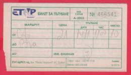 "247992 / 2003 -  BUS , Passenger Coupon , "" ETAP ADRESS "" Ltd. , Ticket Billet , SOFIA - VARNA ,  Bulgaria Bulgarie - Europa"