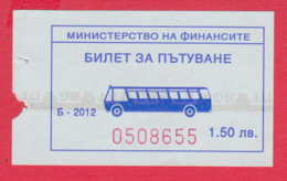 248002 / 2012 - 1.50 Leva -  BUS , Ministry Of Finance , Ticket Billet , Bulgaria Bulgarie Bulgarien - Busse