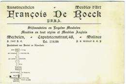 Carte Visite. Mechelen/Malines. De Roeck. Kunstmeubelen. Meubles D'Art. - Cartes De Visite