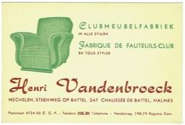 Carte Visite. Mechelen/Malines.Vandenbroeck. Fabrique De Fauteuils-Club. Clubmeubelfabriek. - Cartes De Visite