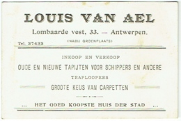 Carte Visite. Antwerpen/Anvers. Tapijten/Carpetten. Tapis. Louis Van Ael. - Cartes De Visite