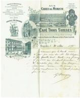 Facture. Bruxelles. Brasserie Aux Caves De Munich. Café Trois Suisses. Löwenbräu. 1895. - Belgium