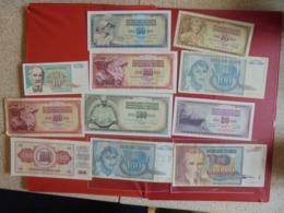 YOUGOSLAVIE LOT DE 11 BILLETS (B.7) - Munten & Bankbiljetten