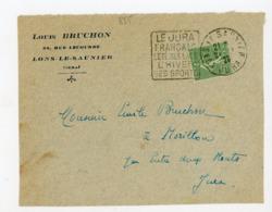 """SEMEUSE  N° Yt 198 OBLI. DAGUIN """"LE JURA FRANÇAIS L'ÉTÉ SES LACS L'HIVER SES SPORTS 1928 SUR DEVANT DE LETTRE - 1903-60 Semeuse Lignée"""