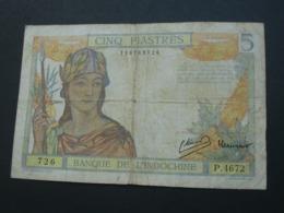 5 Cinq Piastre  - Banque De L'Indochine 1946   **** EN ACHAT IMMEDIAT **** - Indochina