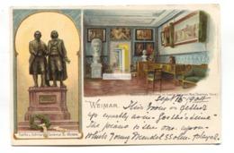 Weimar - Goethes Haus, Denkmal - 1904 Used Germany Postcard, Gruss Aus Style - Weimar