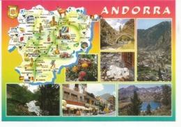 Carte Géographique D'Andorre (Principauté), Carte Postale Neuve, Non Circulée - Landkarten