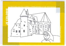 CP 19 Corrèze, Saint-Angel, Le Prieuré, Carte à Colorier, Coloriage - Andere Gemeenten