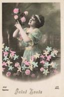 Prenom Saint Louis Cpa Carte Fantaisie Femme Fleurs - Nombres