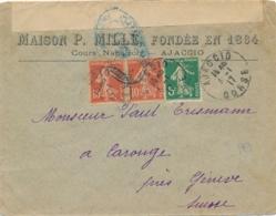 Semeuse Lettre Censurée D' AJACCIO CORSE Au Tarif Etranger Pour La Suisse - En-tête P.MILLE - Postmark Collection (Covers)