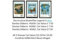 Sierra Leone MNH - Cat £22.50 For $3.00 - Insects Butterflies Papillons Schmetterlinge Farfalle Mariposas Vlinders - Butterflies