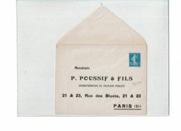PTX 8/19- ENVELOPPE SEMEUSE CAMEE 25c  REPIQUAGE POUSSIF & FILS NEUVE TB - Entiers Postaux