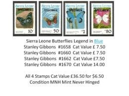 Sierra Leone MNH - Cat £36.50 For $6.50 - Insects Butterflies Papillons Schmetterlinge Farfalle Mariposas Vlinders - Butterflies