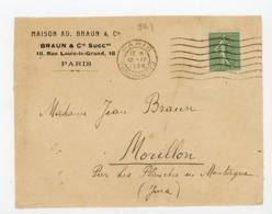 SEMEUSE  N° Yt 198 OBLI. PARIS1926 SUR DEVANT DE LETTRE - 1906-38 Semeuse Camée