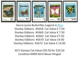 Sierra Leone MNH - Cat £50.50 For $10.50 - Insects Butterflies Papillons Schmetterlinge Farfalle Mariposas Vlinders - Butterflies
