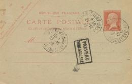 """Entier CP PASTEUR 30c Tarif Etranger - Griffe """" PARVENU SANS ADRESSE """" - Obl LONGWY BAS MEURTHE ET MOSELLE - Cartes Postales Repiquages (avant 1995)"""