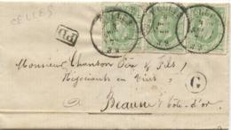BELGIQUE YVERT N°30X3 OBL CAD CELLES 1875 + BOITE G SUR LETTRE AVEC TEXTE DE VELAINES POUR LA FRANCE - Rural Post