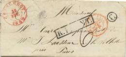 BELGIQUE CAD CHARLEROY 1849 + BOITE C SUR LETTRE AVEC TEXTE DE JUMET POUR LA FRANCE - Poststempel
