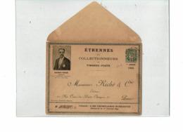 PTX 8/19- ENVELOPPE SAGE 5c REPIQUAGE CASIMIR PERIER ETRENNES AUX COLLECTIONNEURS OBL. DEFAUT - Postal Stamped Stationery