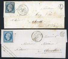 """1855/1858 N° 14A (x2) 20 Ct Bleu Type I Sur 2 Lettres / Pc Autun + Boîtes Rurales """"L"""" Et """"M"""" Toutes Deux Datées D'Auxy - 1849-1876: Classic Period"""