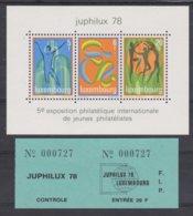 Luxembourg  1978-  BL  12  XX (n°914/16 XX)  JUPHILUX 78 5e Exposition Philatélique Internationale De Jeunes Philatélist - Luxembourg