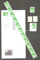 Roulette LUQUET N° 101 De 11 TVP Vert  RF- Type 2 - Numéros Noirs Au Verso + Petit Lot Se Référant.TB. - Rollen