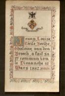 """1887 - Belle Et Rare Image - Souvenir De Communion - Avec Blason """"Ferrum Est Ultima Ratio"""" - Images Religieuses"""
