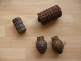 Grenades WW1 Allemande Pigeon, Françaises Citron Foug, Anglaise Batty De Fouille - Decotatieve Wapens