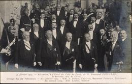 Cp Paris, Hotel De Ville, President Raymond Poincaré, Dubost, Fallieres, Deschanel, Loubet, Briand - Militares