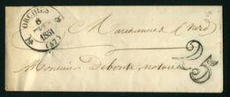 ENVELOPPE DU  8 FEVRIER  1851  ORCHIES A DESTINATION DE  MARCHIENNES - Marcophilie (Lettres)