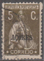 "AÇORES-1923-1924, Tipo «CERES». Selos Do Cont. C/ Sobrec. "" AÇORES "" 5 C.  D. 12x11 1/2 ( P. Liso )   (o) Afinsa Nº 192 - Azoren"