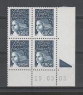 FRANCE / 2003 / Y&T N° 3573 ** : Luquet RF 0.90 € Bleu Foncé X 4 - Coin Daté 2003 03 19 (RE) - 2000-2009
