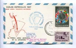 VUELOS ESPECIALES - BASE AEREA TENIENTE MATIENZO. FUERZA AEREA ARGENTINA EN LA ANTARTIDA. 1967 CARTE PAR AVION -LILHU - Vols Polaires