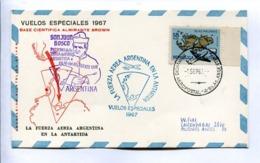 VUELOS ESPECIALES - BASE AEREA ALMIRANTE BROWN. FUERZA AEREA ARGENTINA EN LA ANTARTIDA. 1967 CARTE PAR AVION -LILHU - Polar Flights