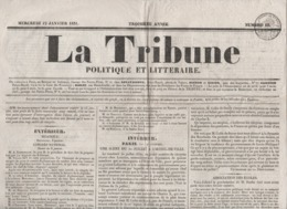 LA TRIBUNE POLITIQUE ET LITTERAIRE 12 01 1831 - BELGIQUE - PARIS 1830 REVOLUTION - ECOLES - COURS D'ASSISES - SAUMUR - 1800 - 1849