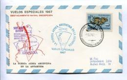 VUELOS ESPECIALES - DESTACAMENTO NAVAL DECEPCIÓN. FUERZA AEREA ARGENTINA EN LA ANTÁRTIDA. 1967 CARTE PAR AVION -LILHU - Vols Polaires