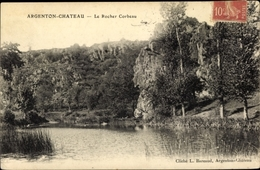 Cp Argenton Chateau Deux Sèvres, Le Rocher Corbeau - Autres Communes