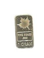 Lingotin , Feuille D'érable ,1 Gram, Fine Brass .999  , 2 Scans - Coins