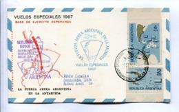 VUELOS ESPECIALES 1967 - BASE DE EJERCITO ESPERANZA. FUERZA AEREA ARGENTINA EN LA ANTÁRTIDA. CARTE PAR AVION -LILHU - Polar Flights