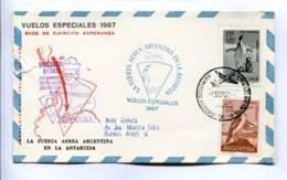 VUELOS ESPECIALES 1967 - BASE DE EJERCITO ESPERANZA. FUERZA AEREA ARGENTINA EN LA ANTÁRTIDA. CARTE PAR AVION -LILHU - Poolvluchten