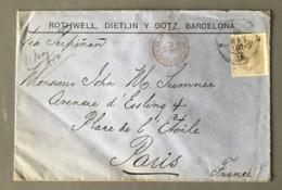 Espagne, Lettre De Barcelone Pour Paris Via Perpignan 1880, Ambulant ESPAGNE  ??? - (W1314) - 1875-1882 Königreich: Alphonse XII.