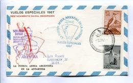 VUELOS ESPECIALES 1967 - DESTACAMENTO NAVAL DECEPCIÓN. FUERZA AEREA ARGENTINA EN LA ANTÁRTIDA. CARTE PAR AVION -LILHU - Polar Flights