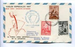 VUELOS ESPECIALES 1967 - BASE AEREA TENIENTE MATIENZO. FUERZA AEREA ARGENTINA EN LA ANTÁRTIDA. CARTE PAR AVION -LILHU - Vuelos Polares