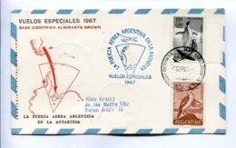 VUELOS ESPECIALES 1967 - BASE CIENTÍFICA ALMIRANTE BROWN. FUERZA AEREA ARGENTINA EN LA ANTÁRTIDA. CARTE PAR AVION -LILHU - Polar Flights