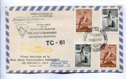 VUELOS ESPECIALES 1970 - PRIMER ATERRIZAJE EN BASE AEREA MARAMBIO DEL HERCULES C-130E. ANTÁRTIDA ARGENTINA. CARTE -LILHU - Vols Polaires