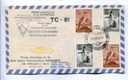 VUELOS ESPECIALES 1970 - PRIMER ATERRIZAJE EN BASE AEREA MARAMBIO DEL HERCULES C-130E. ANTÁRTIDA ARGENTINA. CARTE -LILHU - Polare Flüge