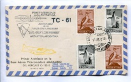 VUELOS ESPECIALES 1970 - PRIMER ATERRIZAJE EN BASE AEREA MARAMBIO DEL HERCULES C-130E. ANTÁRTIDA ARGENTINA. CARTE -LILHU - Voli Polari